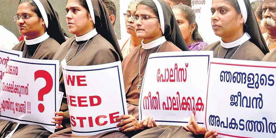 A file photo pf nuns of Joint Christian Council protesting in Kochi against the delay in arresting Bishop Franco Mulakkal