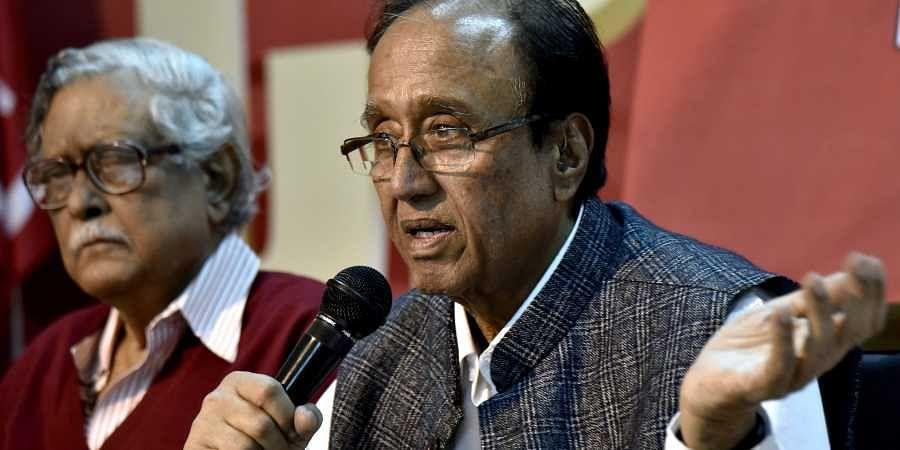 In this file photo, CPI general secretary Sudhakar Reddy is seen addressing media