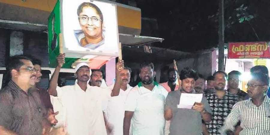 The novel carol campaign, conceived by Youth Congress activists of Kumarapuram, being staged at Karthikapally in Alappuzha