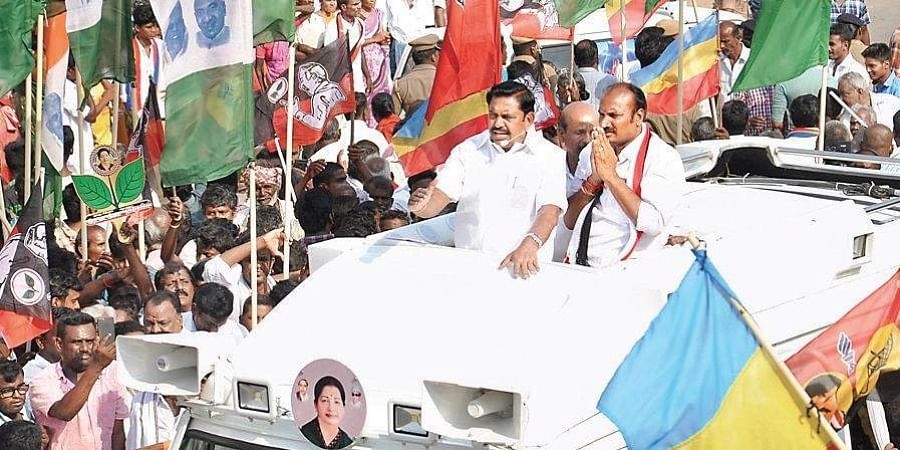 Chief Minister Edappadi K Palaniswami campaigning for AIADMK's Salem candidate KRS Saravanan on Thursday