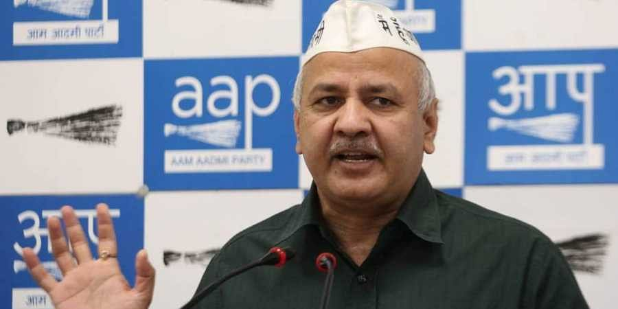 Delhi Deputy CM Manish Sisodia addresses a press conference at AAP office in New Delhi on Saturday.