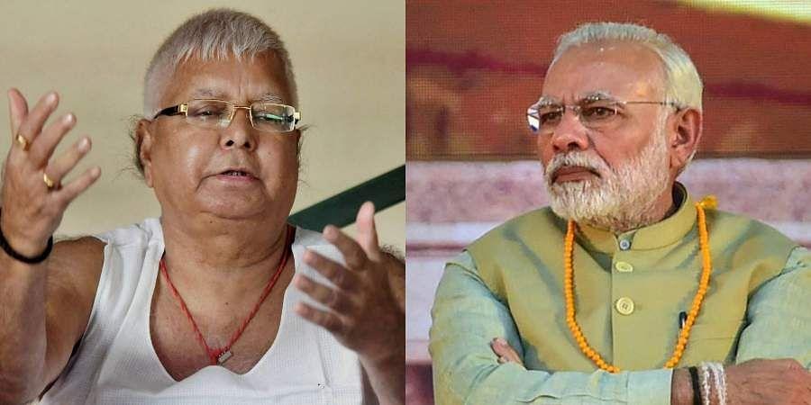 Former BiharCMLalu Prasad Yadav (L) and PMNarendra Modi