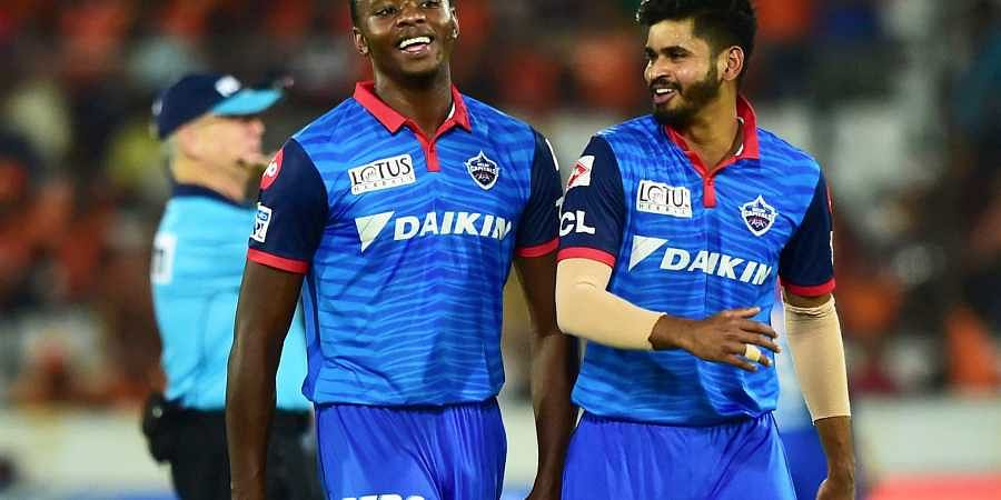 DC's bowler Kagiso Rabada and captain Shreyas Iyer celebrate after beating Sunrisers Hyderabad. (Photo | PTI)
