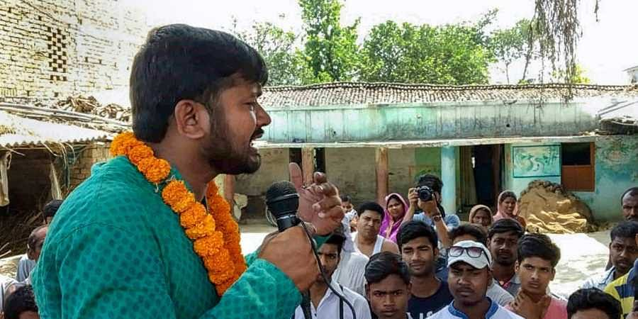 Former JNU students union president and CPI candidate from the Begusarai Lok Sabha seat Kanhaiya Kumar during an election campaign in Begusarai. (Photo | PTI)
