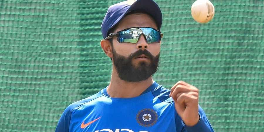 Ravindra Jadeja during a practice session ahead of the 2nd ODI cricket match against Australia at Vidarbha Cricket Association Stadium in Nagpur.