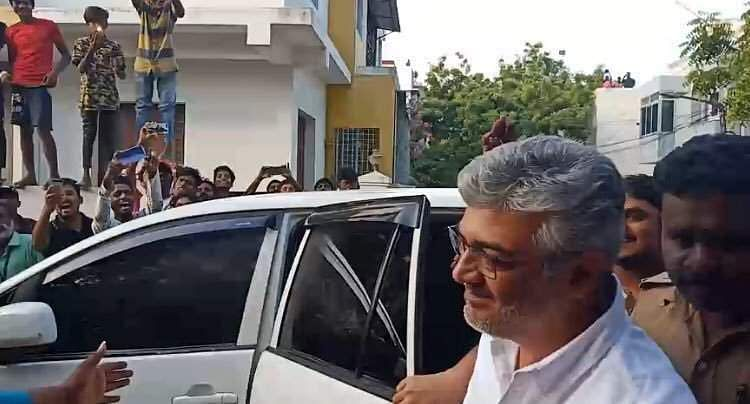 Tamil superstar Ajith arrives to cast his vote.