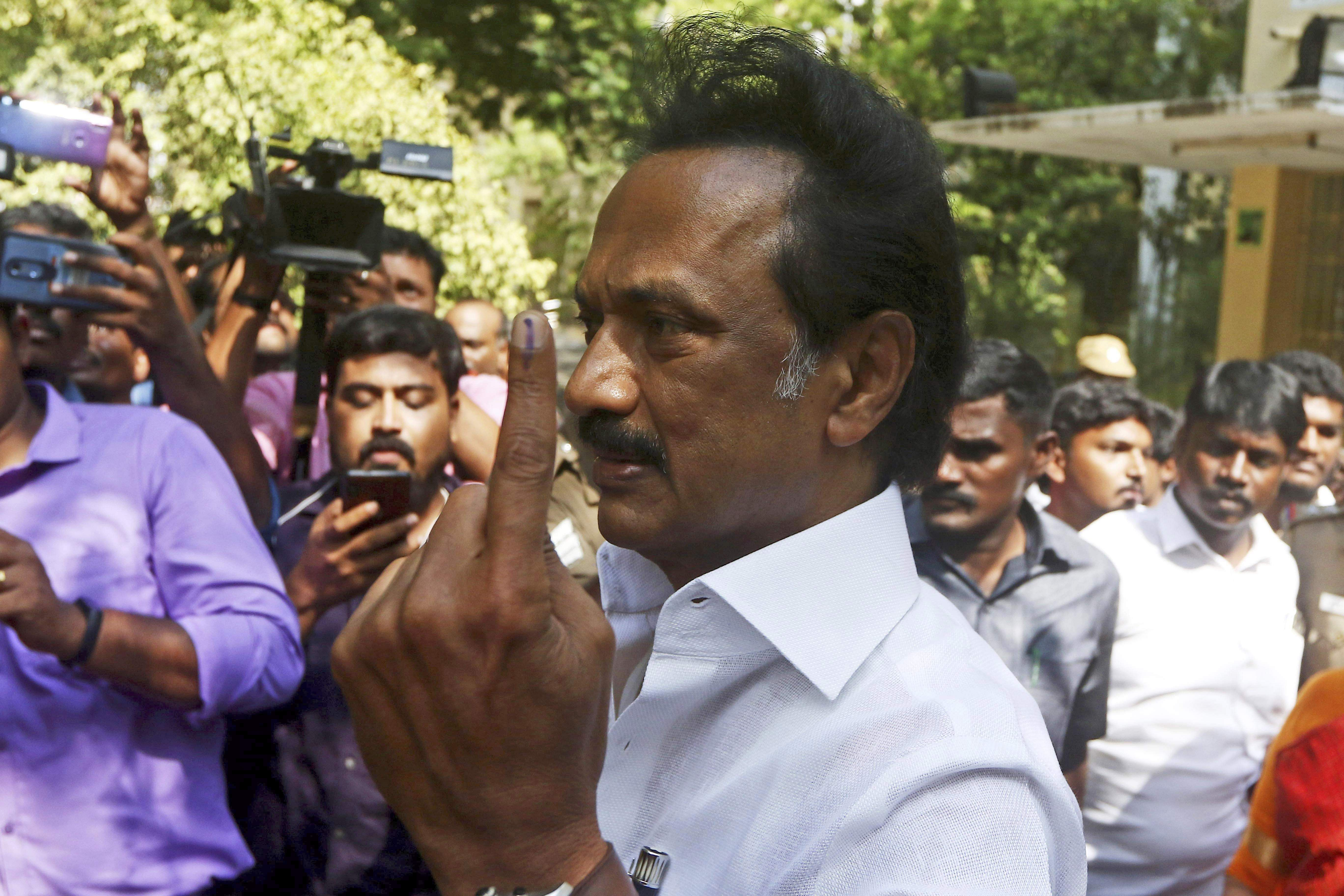 DMK party chief MK Stalin cast his vote today. (Photo | AP)