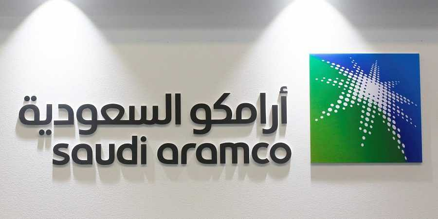 The logo of Saudi Aramco is seen in Manama, Bahrain