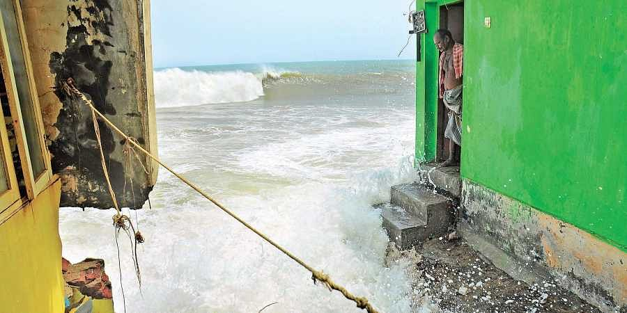Sea erosion in the coastal area of Anchuthengu-Poonthura has damaged many houses