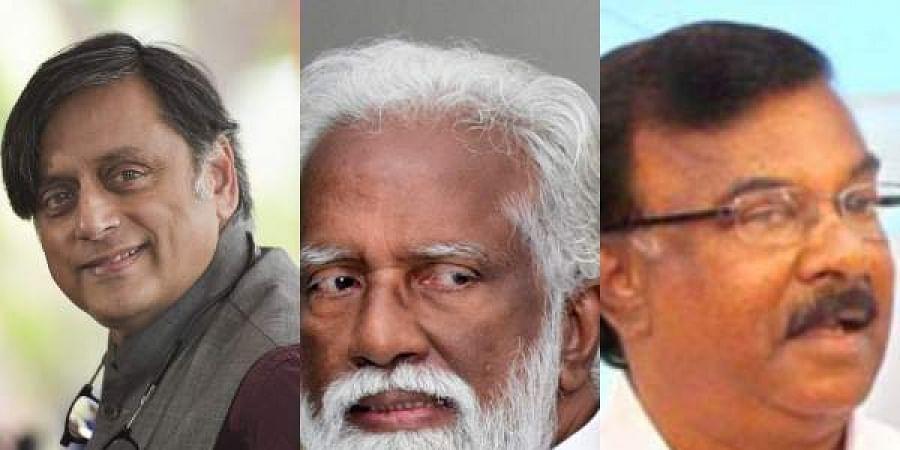 Shashi Tharoor(L), K Rajasekharan(C) and C Divakar(R)