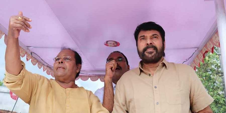 LDF Chalakudy candidate and MP Innocent with actor Mammootty