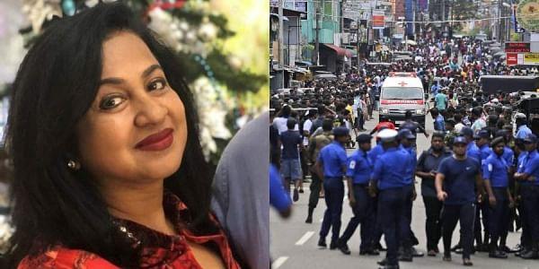 Kollywood actress Radikaa Sarathkumar (L) and a photo from the blasts in Sri Lanka. (Photo | Twitter and AP)
