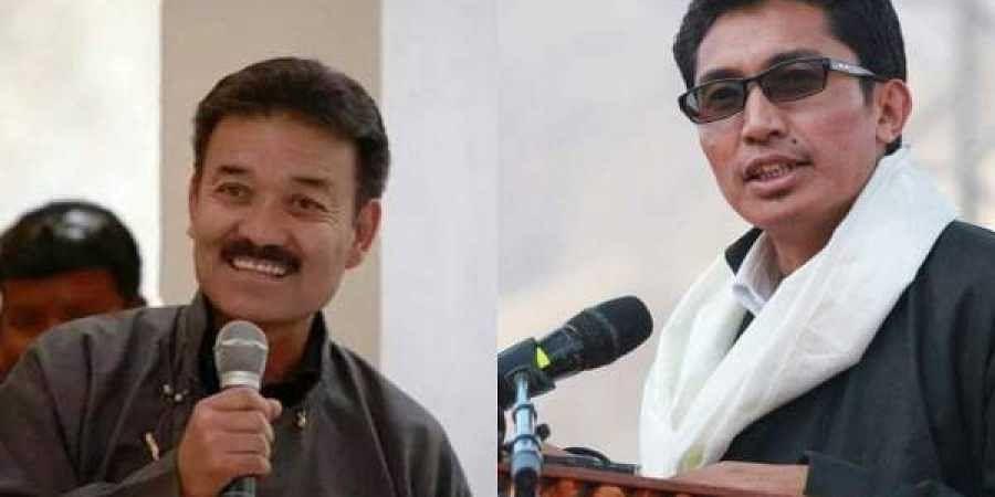 Congress nominee Rigzin Spalbar(L) and BJP candidate Jamyang Tsering Namgyal