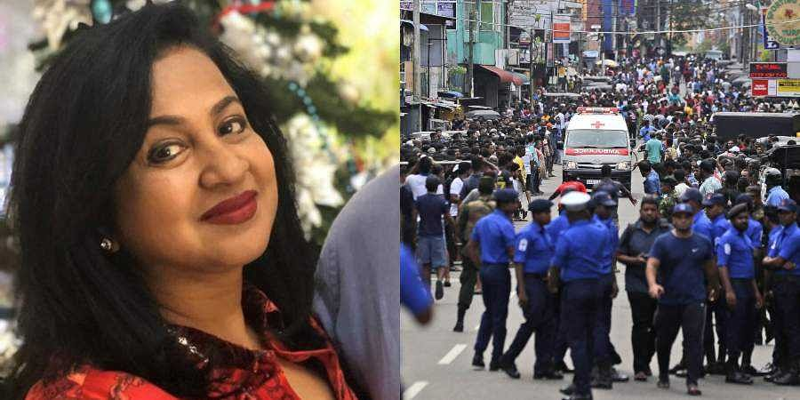 Kollywood actress Radikaa Sarathkumar (L) and a photo from the blasts in Sri Lanka.