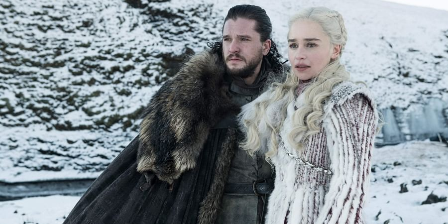 This photo released by HBO shows Kit Harington as Jon Snow, left, and Emilia Clarke as Daenerys Targaryen in a scene from 'Game of Thrones.'