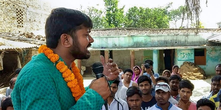 Former JNU students union president and CPI candidate from the Begusarai Lok Sabha seat Kanhaiya Kumar during an election campaign in Begusarai. (Photo   PTI)
