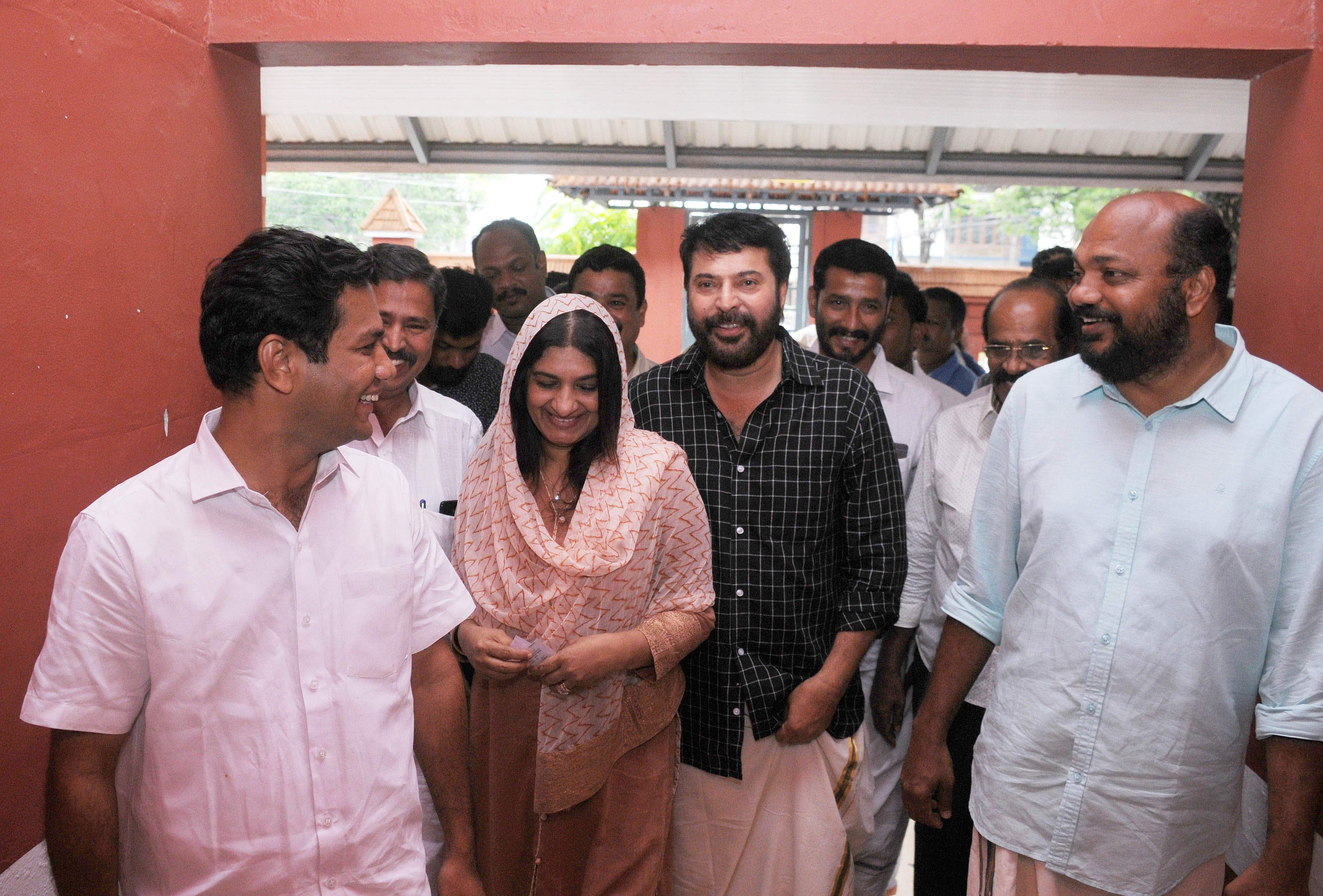 Malayalam superstar Mammootty and his wife Sulfath are seen after voting at Government Higher Secondary School in Panampilly Nagar in Kochi. (Photo | A Sanesh, EPS)