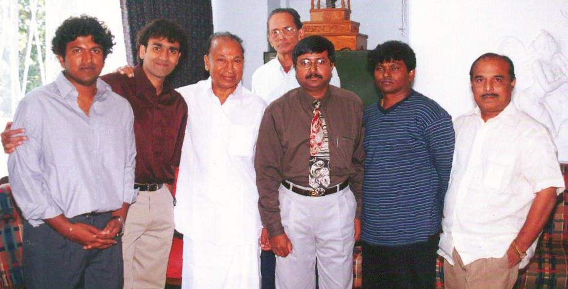 Rajkumar and his son Sivrajkumar with then cinema express editor V Ramamurty.