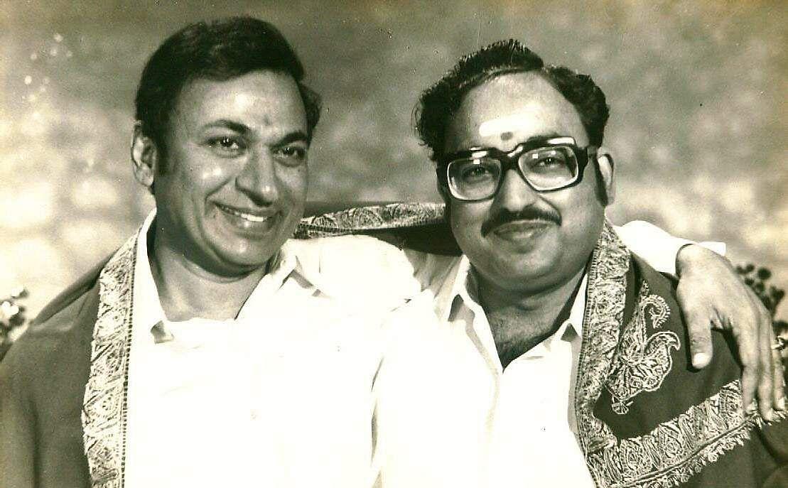 Kannada film actors Rajkumar with Udaykumar.