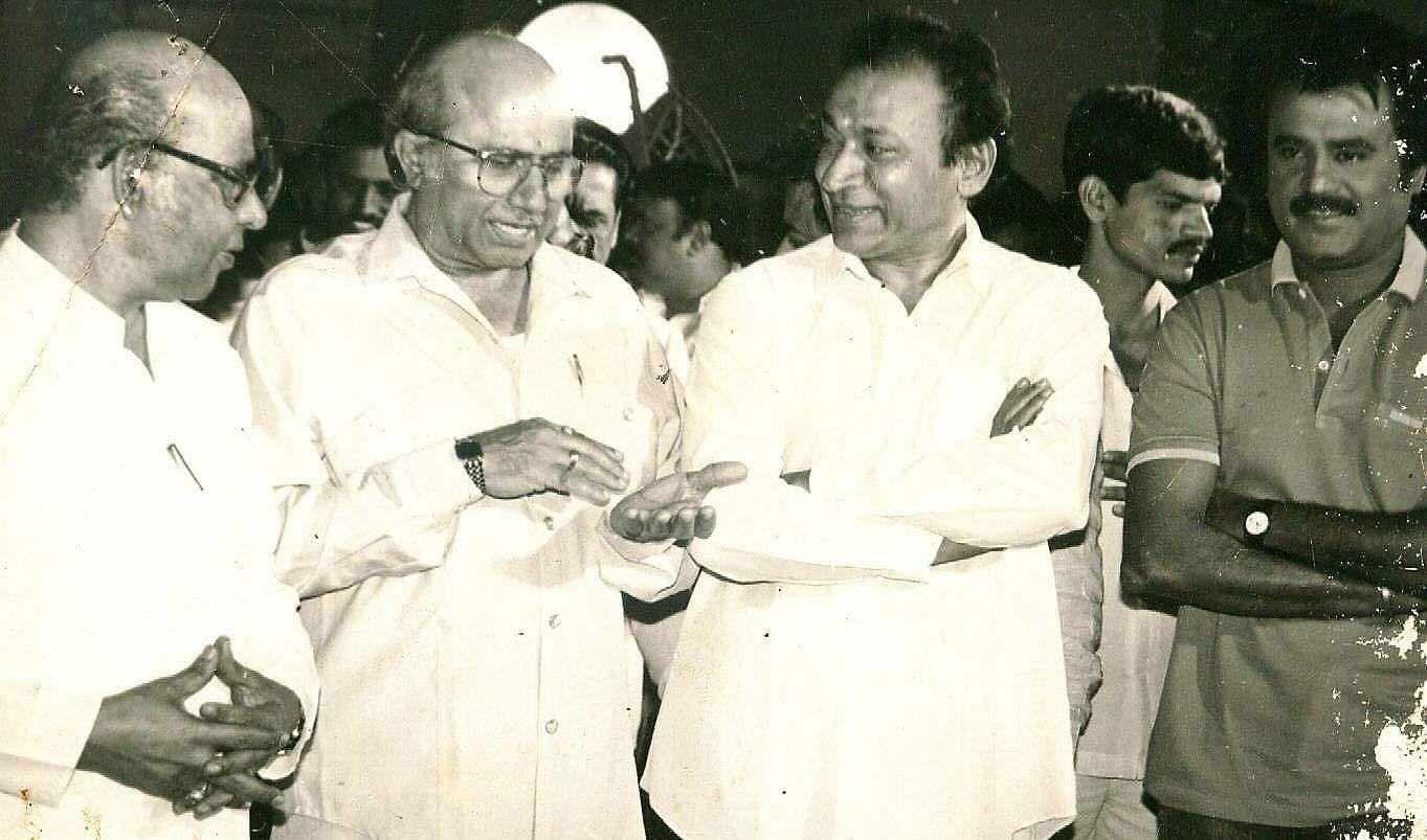 Kannada actor Rajkumar with L Veeraswamy, S Ramanathan and Rajinikanth during a film shoot.