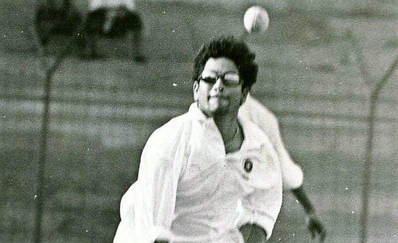 Sachin Tendulkar bowling during a practice session.