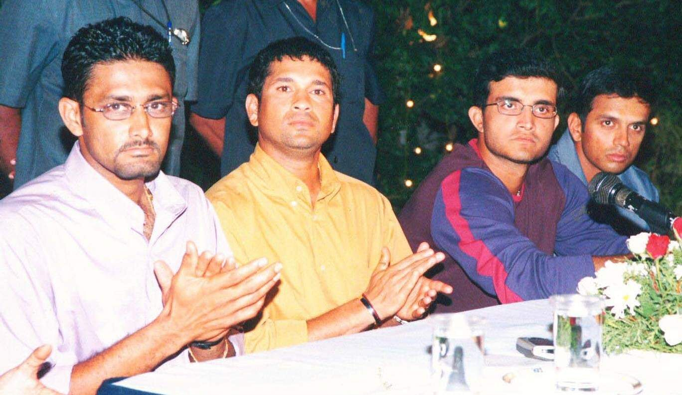 'Master Blaster' Sachin Tendulkar with Anil Kumble, Saurav Ganguly and Rahul Dravid during a function.