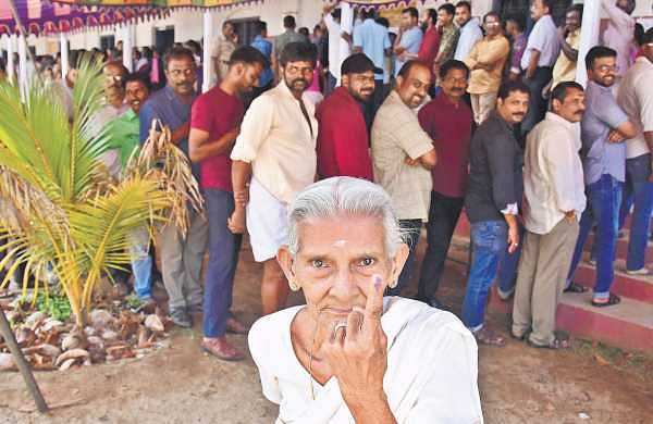 Savithriamma, a native of Edappally, Kochi, shows ink on her index finger as she comes out after casting her vote at St Ignatious Layola LP School at Ponel on Tuesday. The 83-year-old, who had to wait for nearly an hour in queue, has not missed a single opportunity to vote so far | Albin Mathew