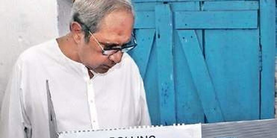 CM Naveen Patnaik casting his vote in Bhubaneswar on Tuesday
