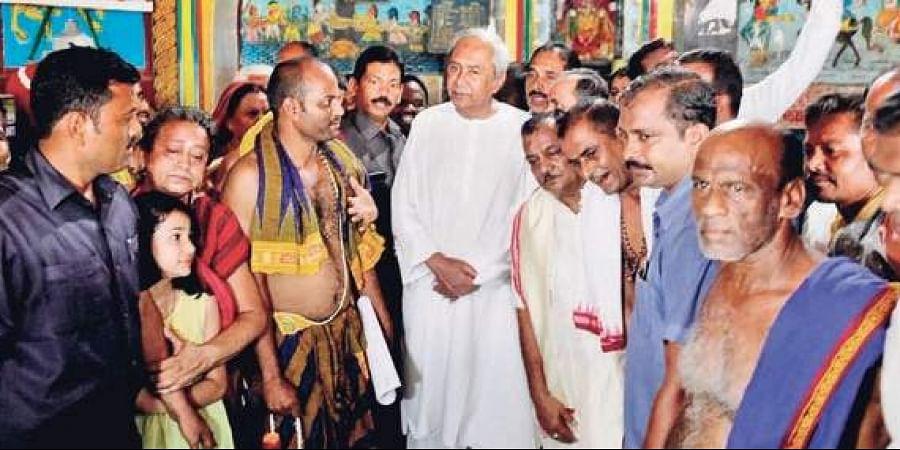 Chief Minister Naveen Patnaik at Jagannath temple in Baripada
