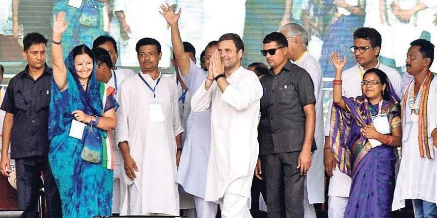 Congress president Rahul Gandhi at election meeting in Remuna of Balasore district on Friday