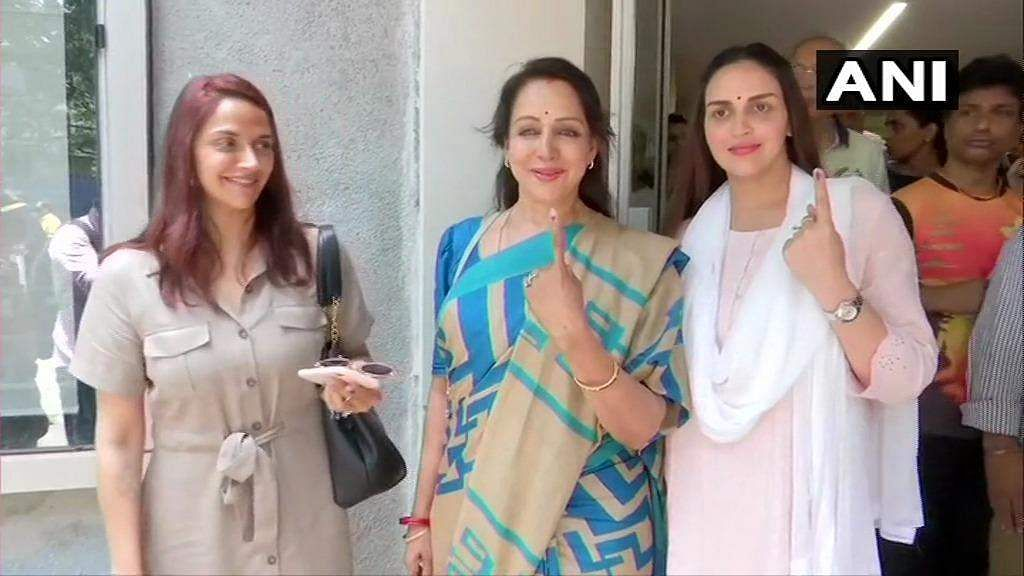 Actress and BJP candidate Hema Malini with daughters Esha Deol and Ahana Deol.