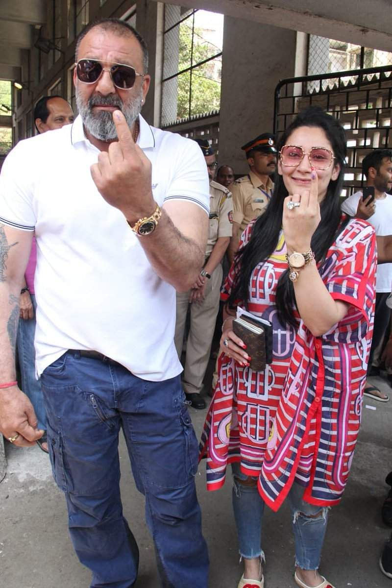 Snjay Dutt with wife Manyata at the polling booth.