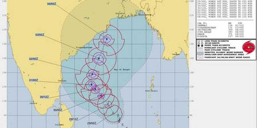 The projected track of Cyclone Fani by Joint Typhoon Warning Centre.