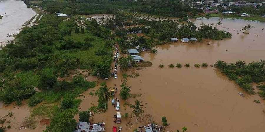 An aerial view of submerged buildings after heavy rain caused flooding in Bengkulu on the Indonesian island of Sumatra