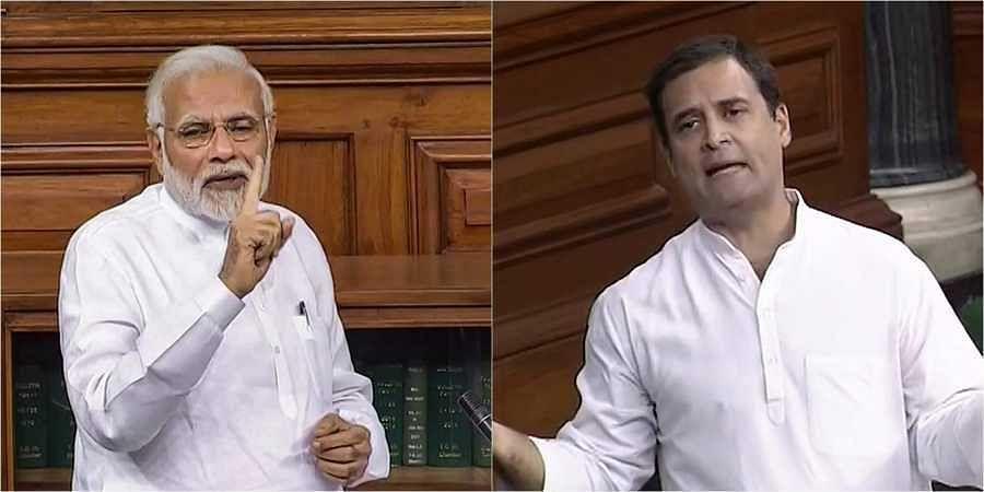 L-R: PM Modi and Rahul Gandhi.