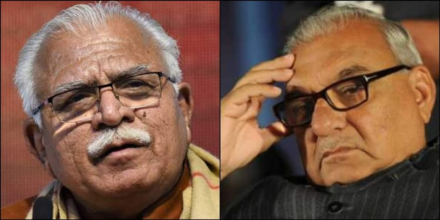 L-R: Manohar Lal Khattar and Bhupinder Singh Hooda (Photos | File)