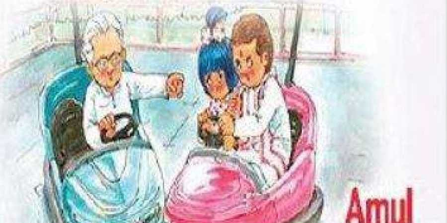 The advertisements of Amul featuring Rahul Gandhi on April 13, 2011.