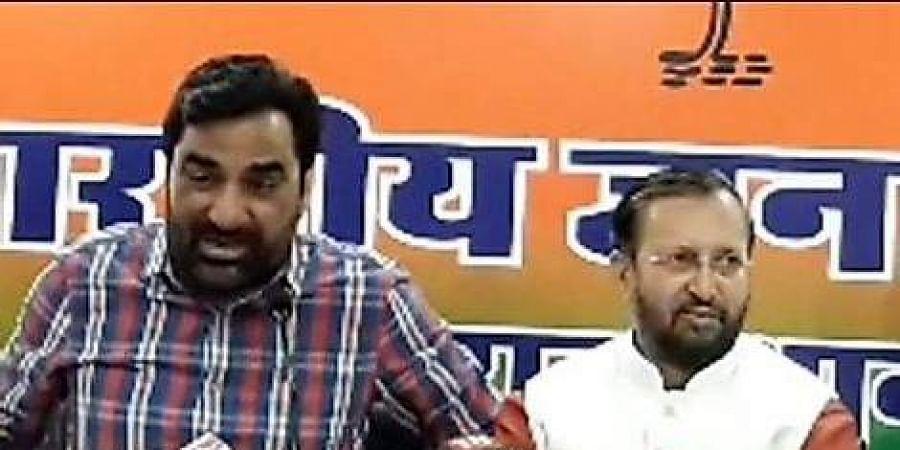 RLP Convener Hanuman Beniwal with Union Minister Prakash Javadekar