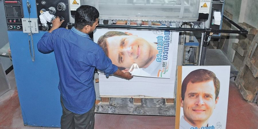 As Congress president Rahul Gandhi is all set to file nomination papers in Wayanad constituency, his posters are  being readied at a printing press in Kochi
