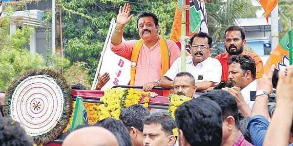 NDA candidate for Thrissur LS segment Suresh Gopi after submitting his nomination papers