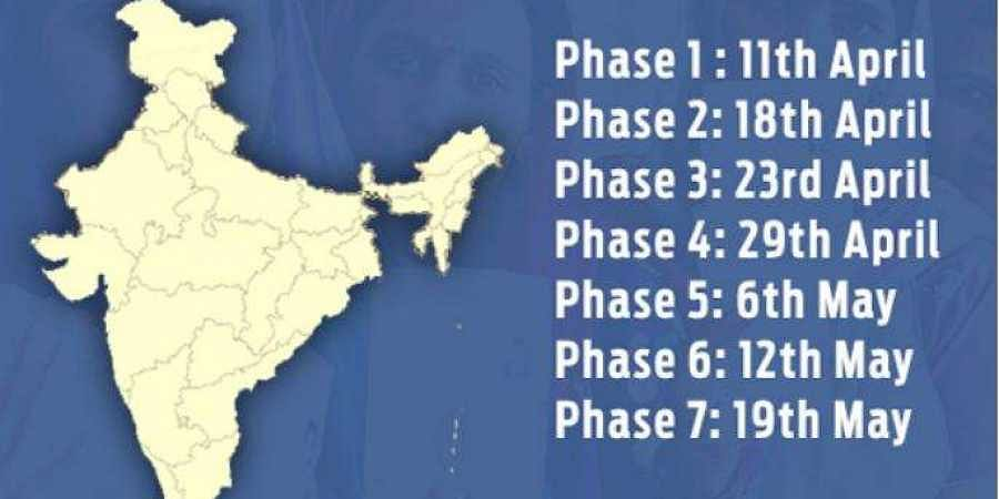 Graphics on the Lok Sabha Polls 2019 schedule.