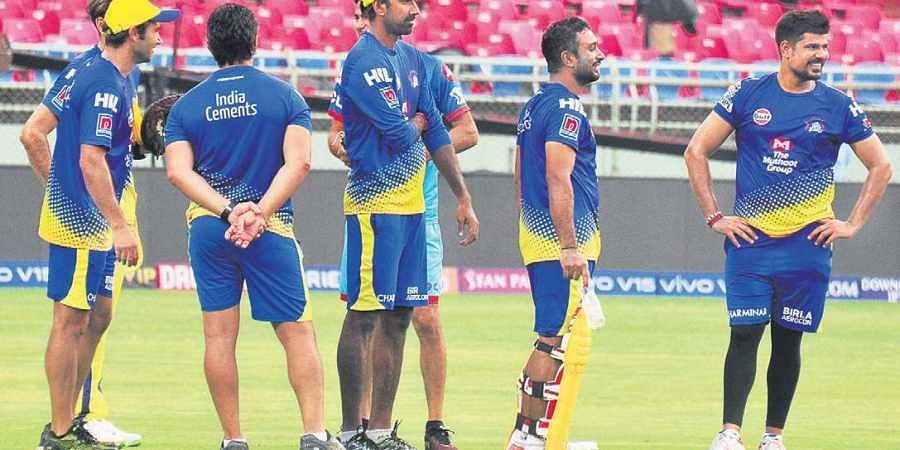 CSK players take a breather during practice in Visakhapatnam | G Satyanarayana