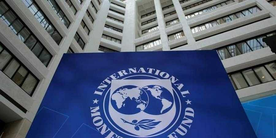 The International Monetary Fund logo is seen during the IMF/World Bank spring meetings in Washington