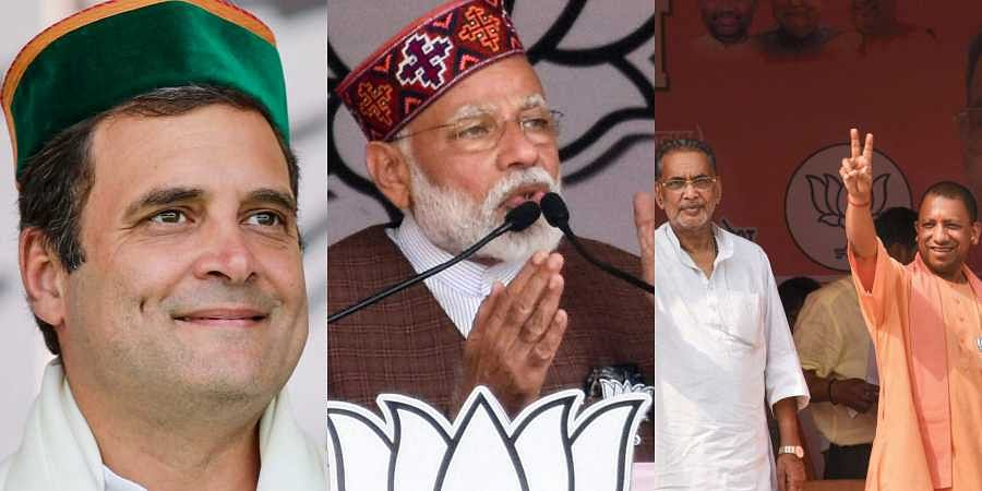Rahul Gandhi(L), Narendra Modi(C) and Yogi Adityanath(R) on the last day of campaign of Phase VI of LS elections