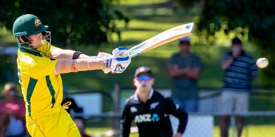 Australian player Steve Smith bats during the second of three warm up matches against New Zealand in Brisbane on May 8, 2019. (Photo |  AFP)