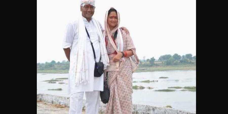 Congress leader Digvijaya Singh with wife Amrita Rai. (Photo | Amrita Rai/Facebook)