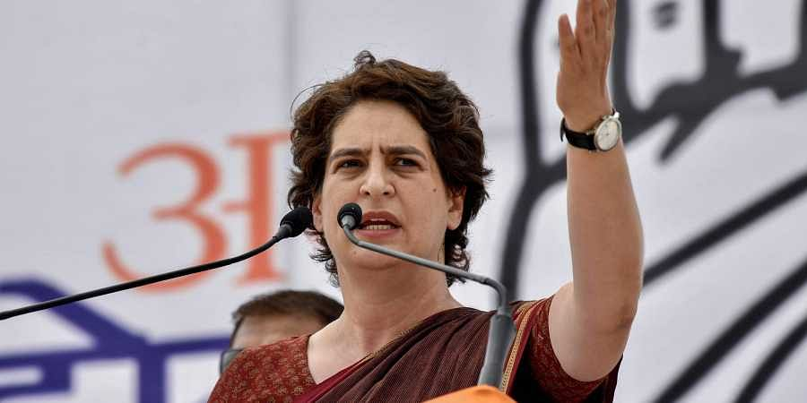 Priyanka Gandhi Vadra addressing a rally