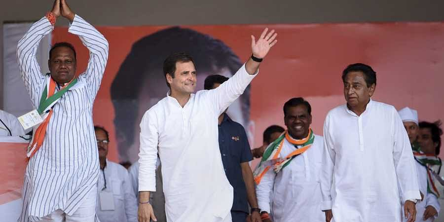 Congress President Rahul Gandhi during an election campaign rally for the ongoing Lok Sabha polls in Dhar district of Madhya Pradesh