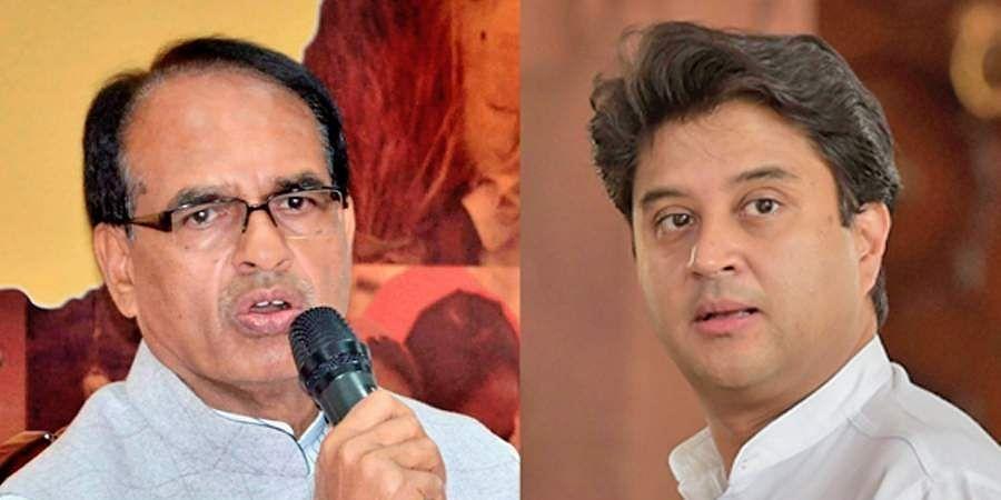 BJP leader and former Madhya Pradesh CM Shivraj Singh Chouhan on left; Congress' Jyotiradia Scindia on right. (Photos | Facebook)