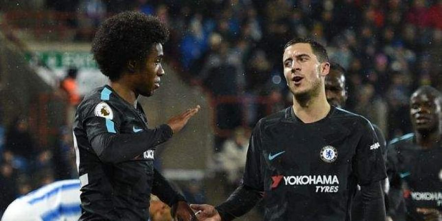 Chelsea stars Willian (L) and Eden Hazard